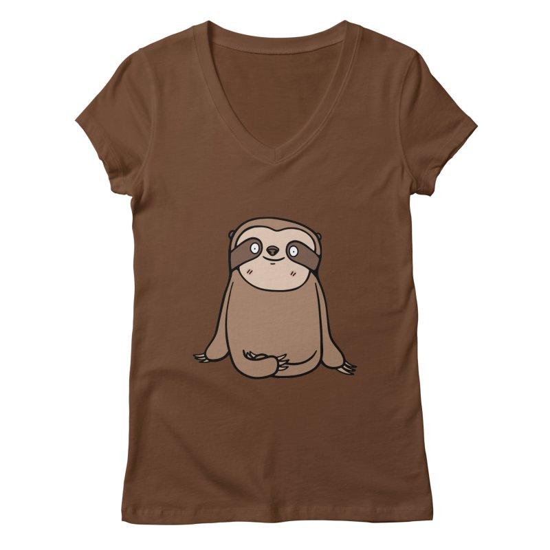 Chubby Sloth Women's V-Neck by Piratart Illustration
