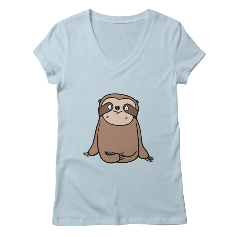 Chubby Sloth Women's V-Neck by Piratart Illustration