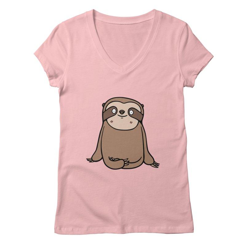 Chubby Sloth Women's Regular V-Neck by Piratart Illustration