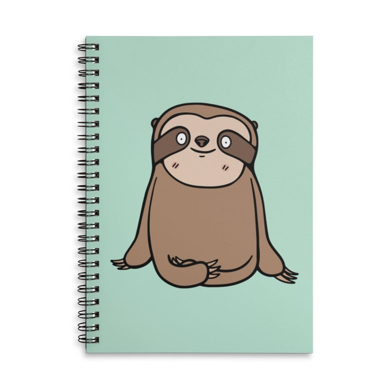 Chubby Sloth Accessories Lined Spiral Notebook by Piratart Illustration
