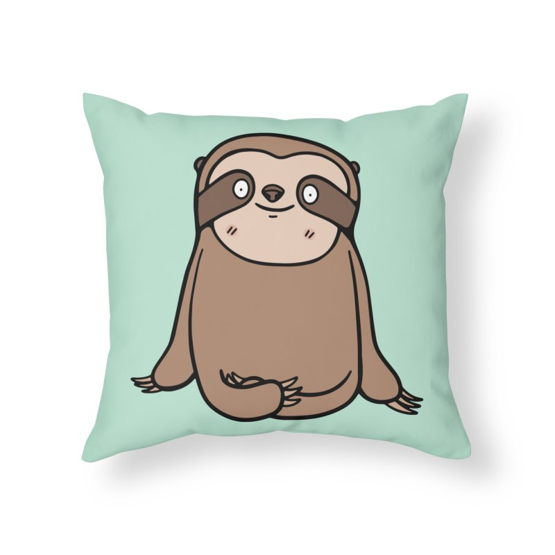 Chubby Sloth Home Throw Pillow by Piratart Illustration