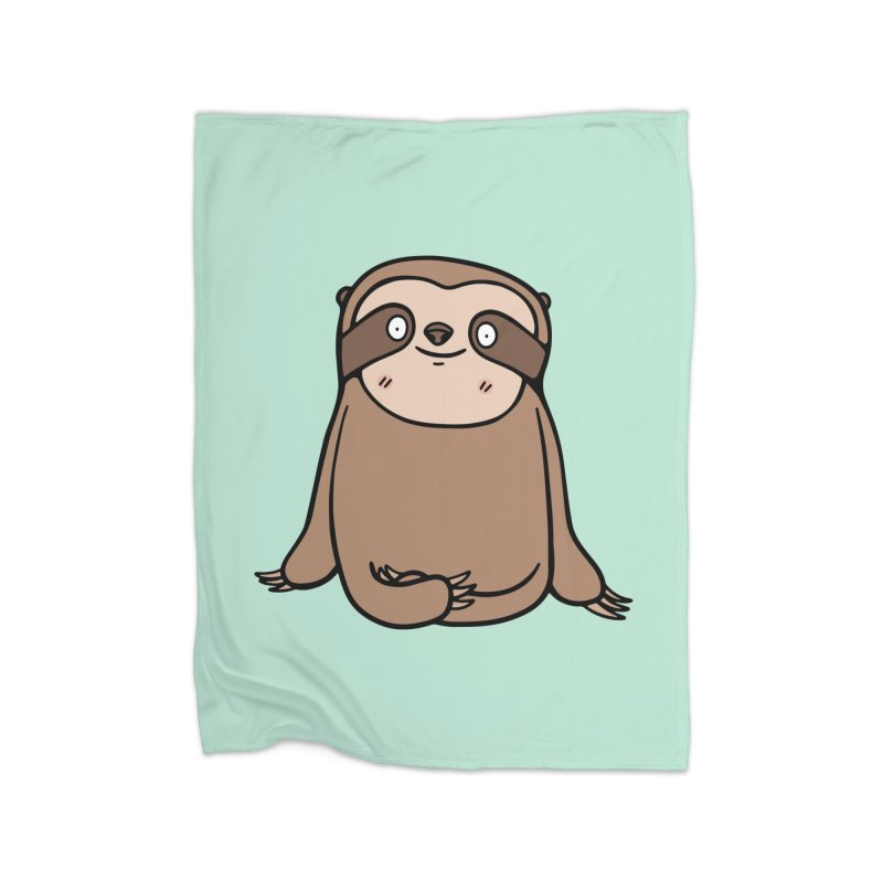 Chubby Sloth Home Fleece Blanket Blanket by Piratart Illustration