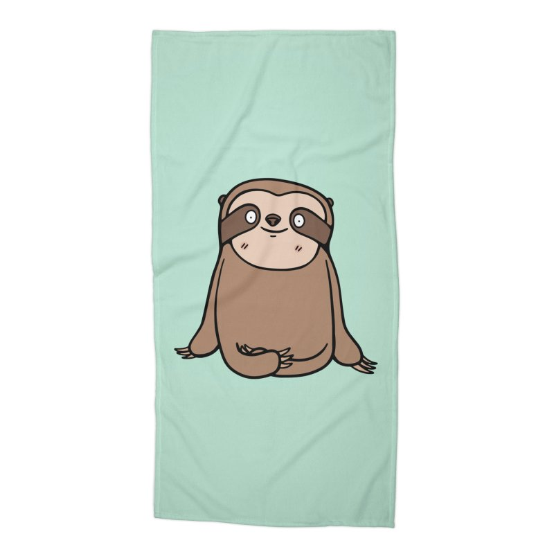 Chubby Sloth Accessories Beach Towel by Piratart Illustration