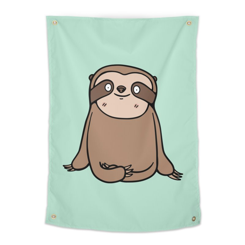 Chubby Sloth Home Tapestry by Piratart Illustration