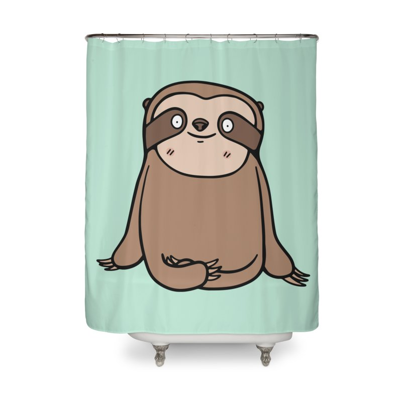 Chubby Sloth Home Shower Curtain by Piratart Illustration