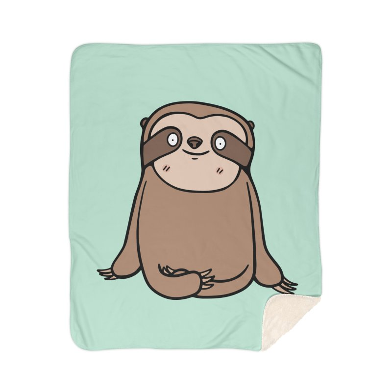 Chubby Sloth Home Sherpa Blanket Blanket by Piratart Illustration