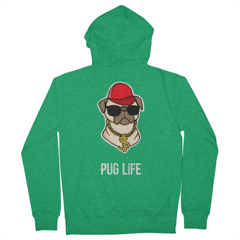 Pug Life Women's French Terry Zip-Up Hoody by Piratart Illustration