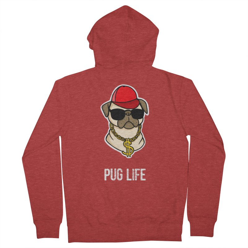 Pug Life Men's French Terry Zip-Up Hoody by Piratart Illustration
