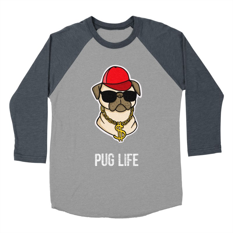 Pug Life Men's Baseball Triblend T-Shirt by Piratart Illustration