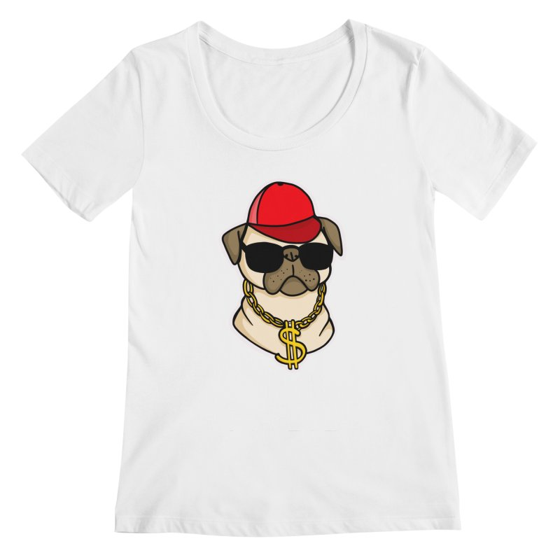 Pug Life Women's Regular Scoop Neck by Piratart Illustration