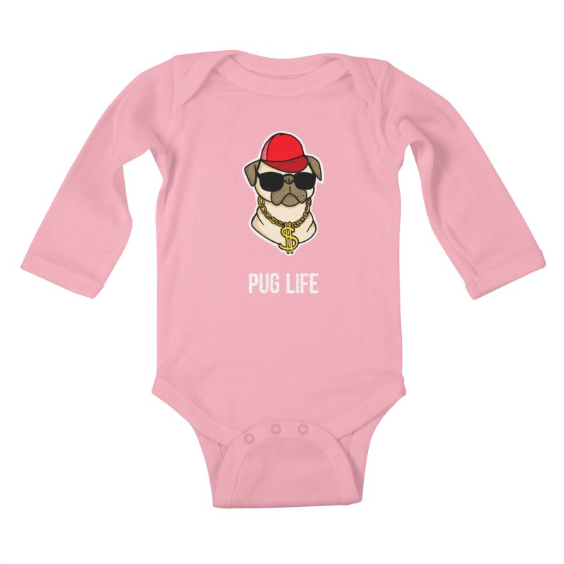 Pug Life Kids Baby Longsleeve Bodysuit by Piratart Illustration