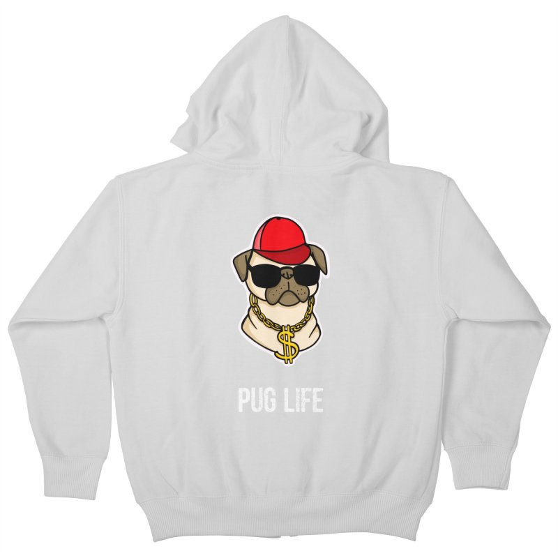 Pug Life Kids Zip-Up Hoody by Piratart Illustration