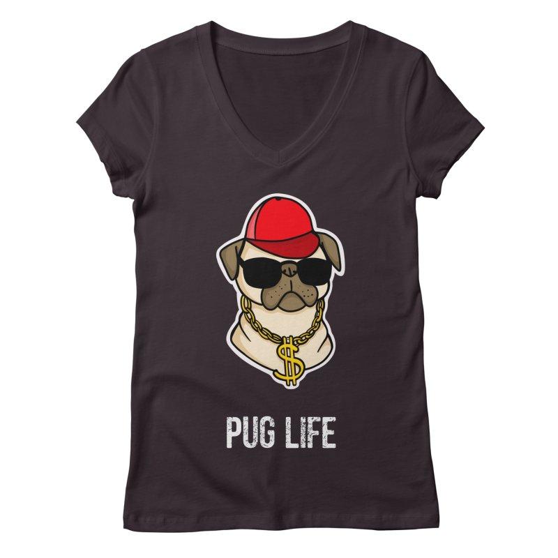 Pug Life Women's Regular V-Neck by Piratart Illustration