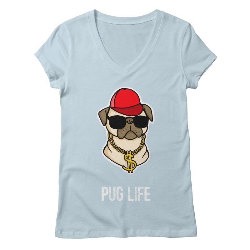 Pug Life Women's V-Neck by Piratart Illustration
