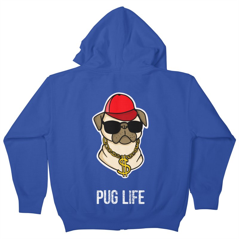 Pug Life Kids Zip-Up Hoody by Piratart Illustration