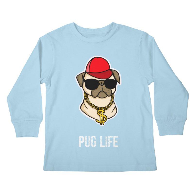 Pug Life Kids Longsleeve T-Shirt by Piratart Illustration