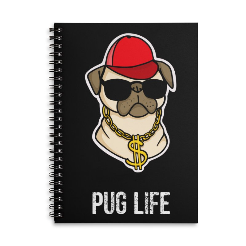 Pug Life Accessories Lined Spiral Notebook by Piratart Illustration