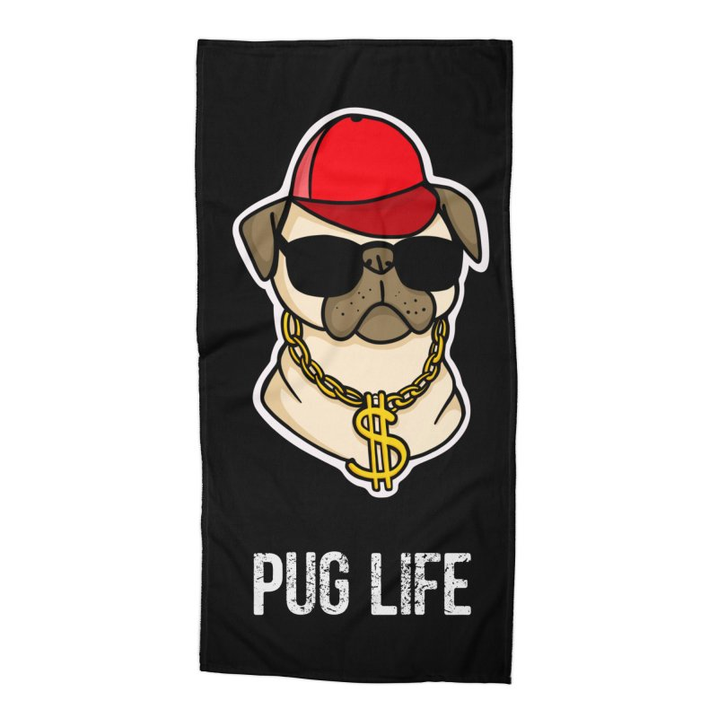 Pug Life Accessories Beach Towel by Piratart Illustration