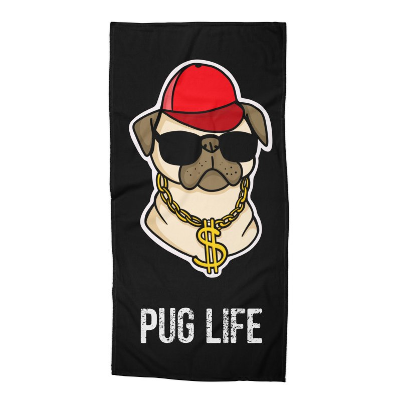 Pug Life Accessories Beach Towel by Piratart Illustration