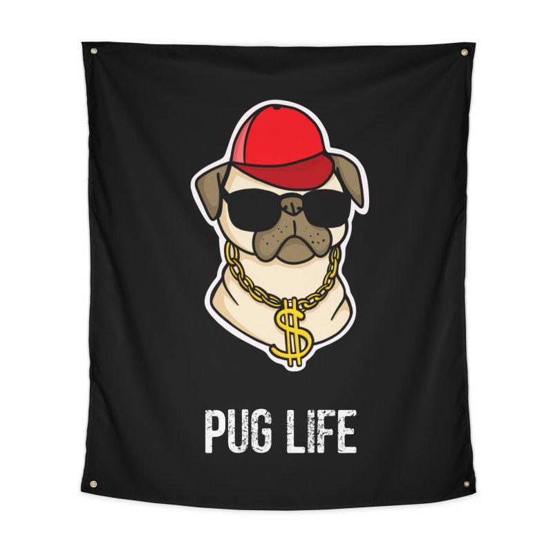 Pug Life Home Tapestry by Piratart Illustration