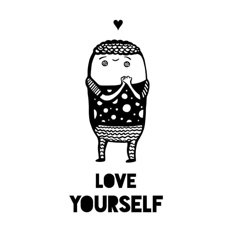Love Yourself Kids Pullover Hoody by Piratart Illustration