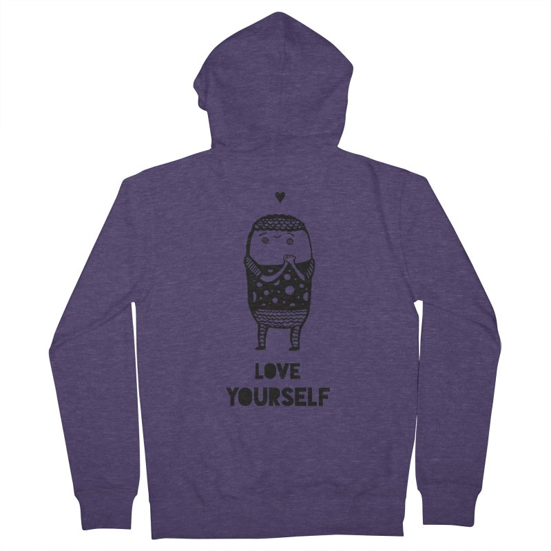 Love Yourself Men's French Terry Zip-Up Hoody by Piratart Illustration