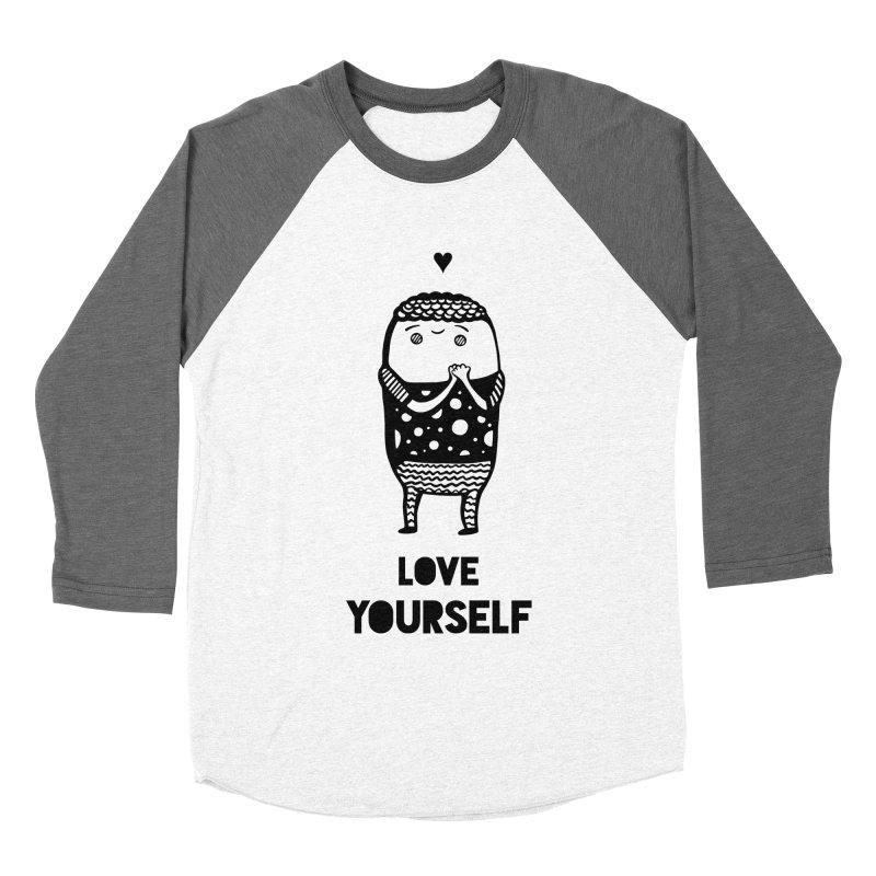 Love Yourself Women's Baseball Triblend Longsleeve T-Shirt by Piratart Illustration