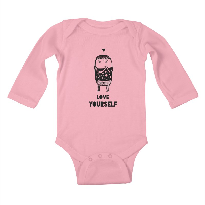 Love Yourself Kids Baby Longsleeve Bodysuit by Piratart Illustration