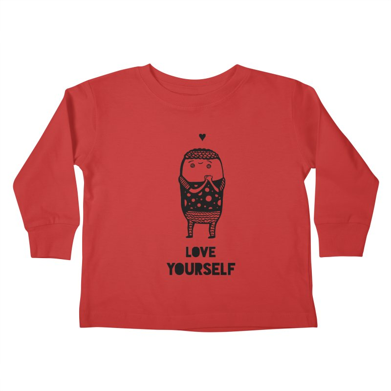 Love Yourself Kids Toddler Longsleeve T-Shirt by Piratart Illustration