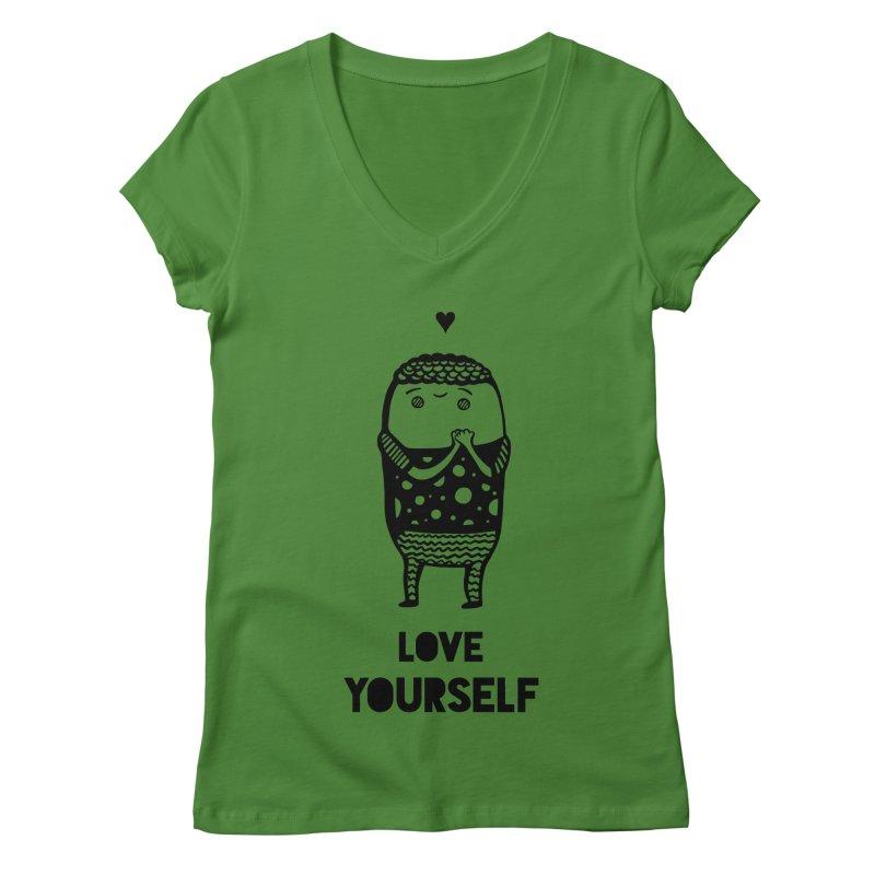 Love Yourself Women's Regular V-Neck by Piratart Illustration