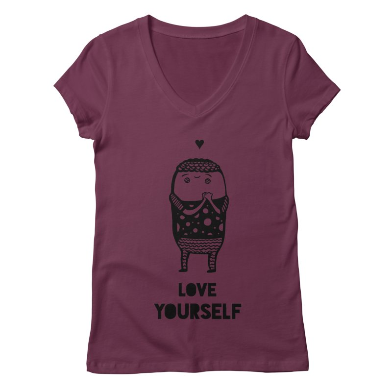 Love Yourself Women's V-Neck by Piratart Illustration