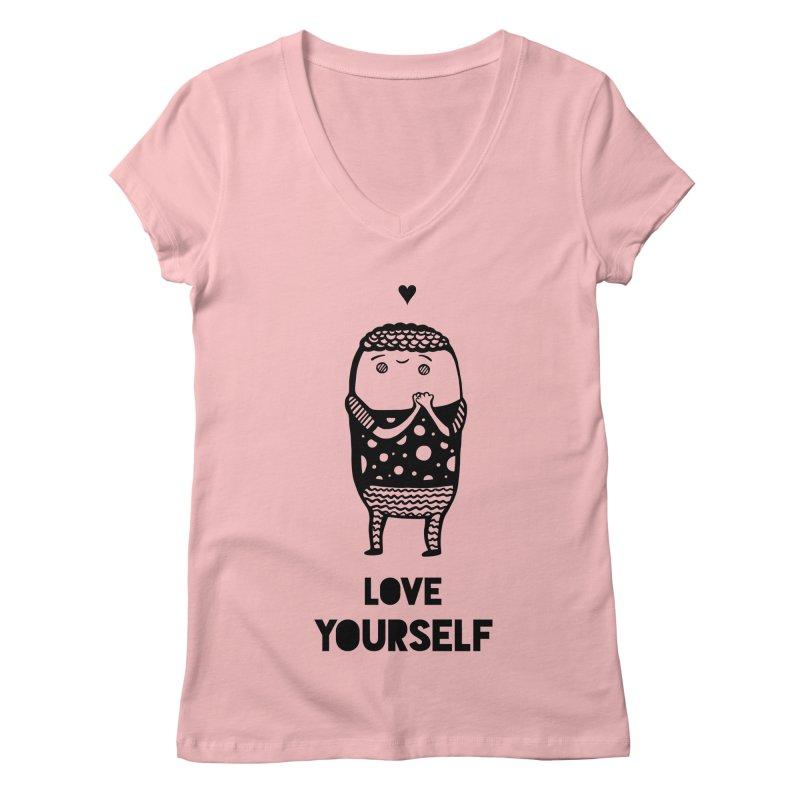 Love Yourself Women's V-Neck by Piratart Illustration