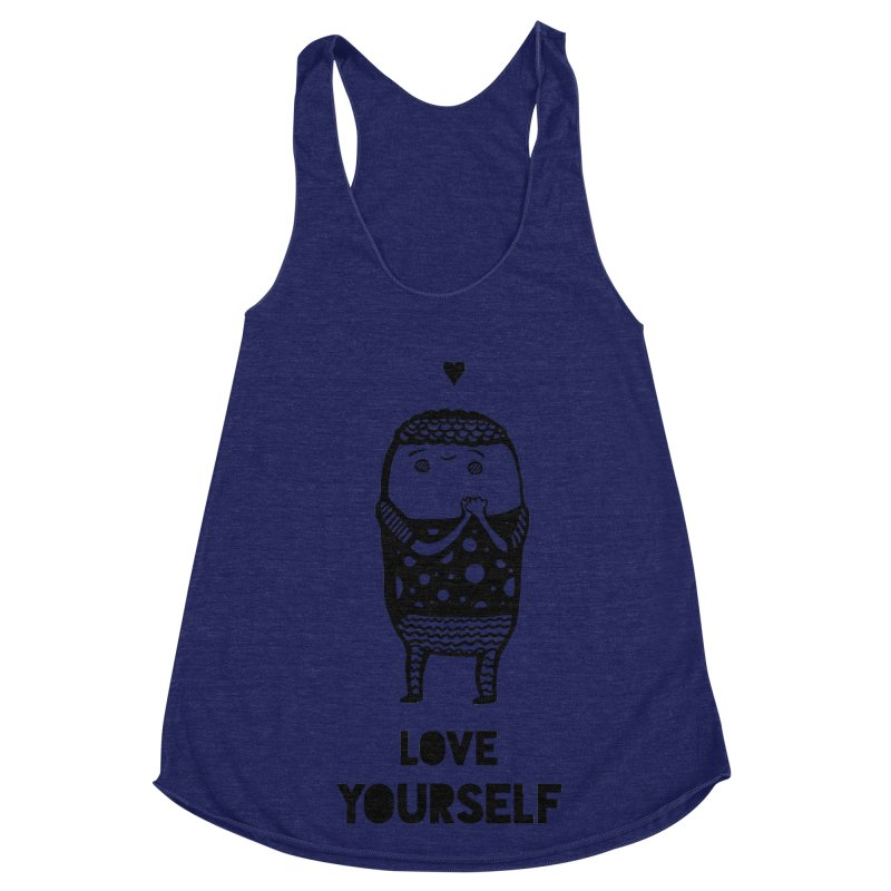 Love Yourself Women's Racerback Triblend Tank by Piratart Illustration