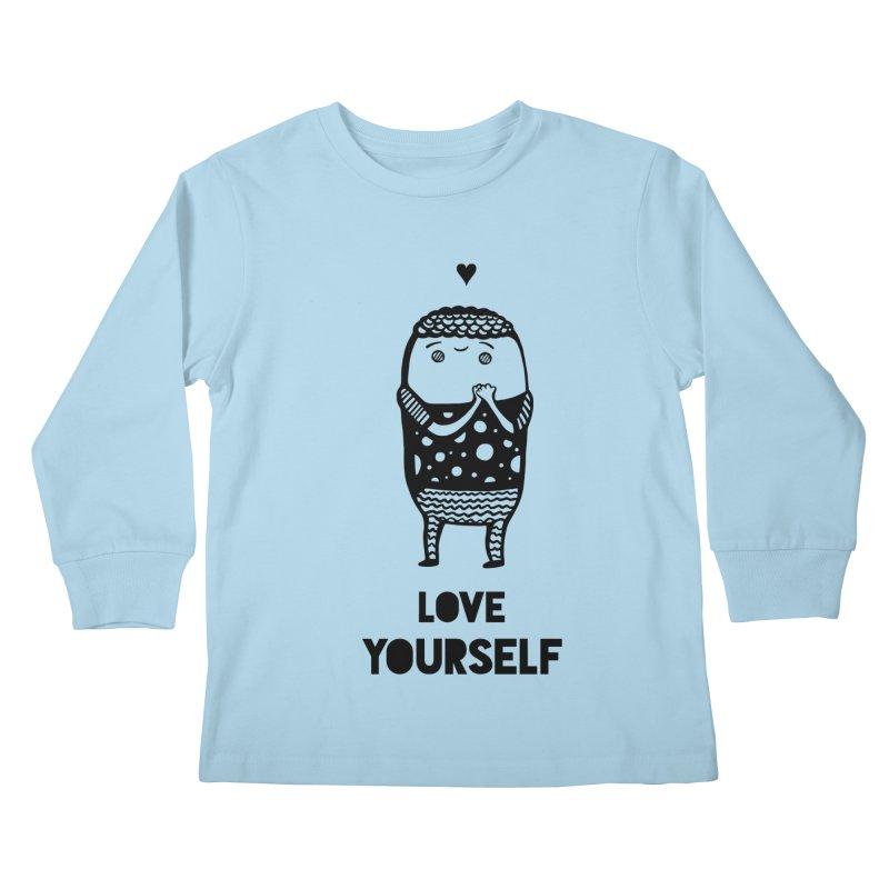 Love Yourself Kids Longsleeve T-Shirt by Piratart Illustration