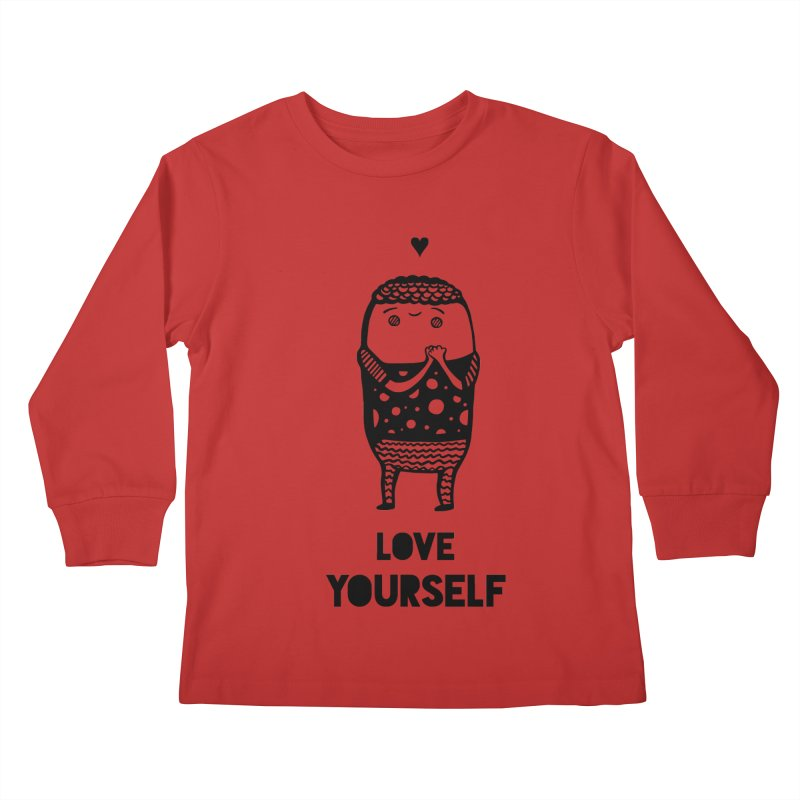 Love Yourself Kids Longsleeve T-Shirt by Piratart Illustration