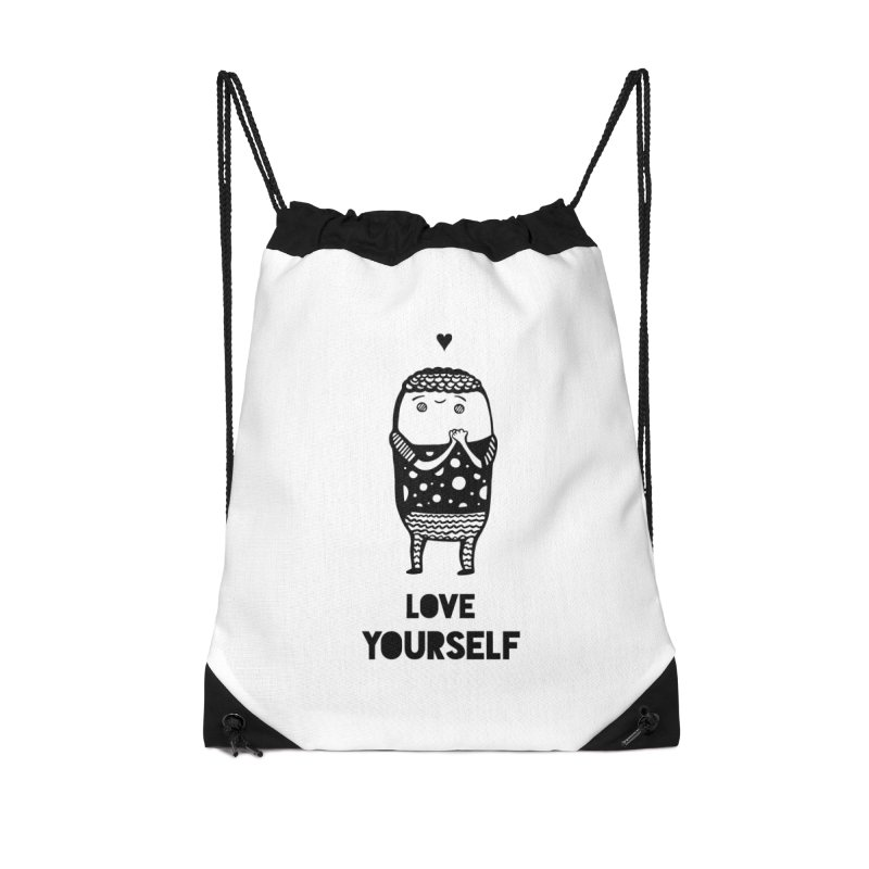 Love Yourself Accessories Drawstring Bag Bag by Piratart Illustration