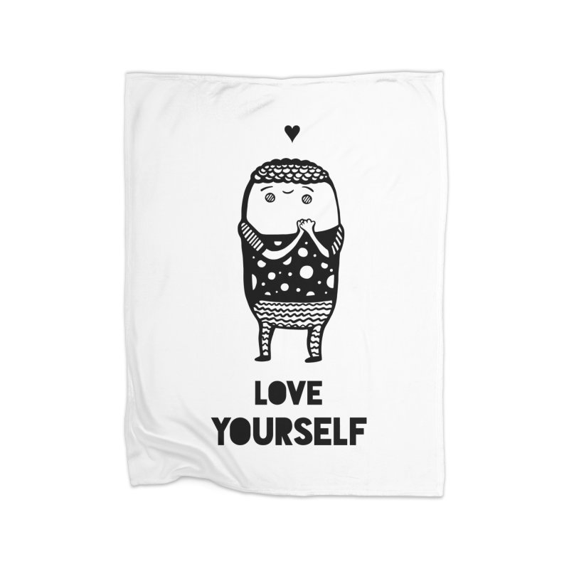Love Yourself Home Fleece Blanket Blanket by Piratart Illustration