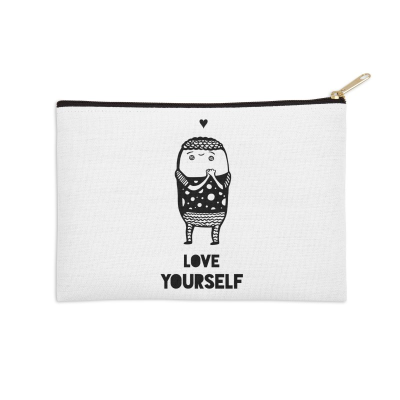 Love Yourself Accessories Zip Pouch by Piratart Illustration