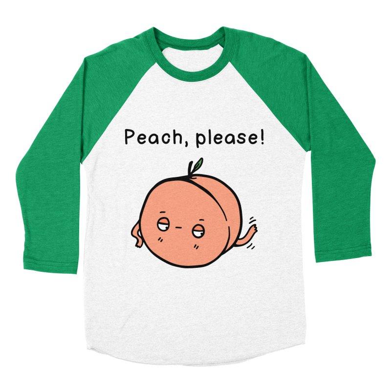 Peach, Please! Men's Baseball Triblend T-Shirt by Piratart Illustration