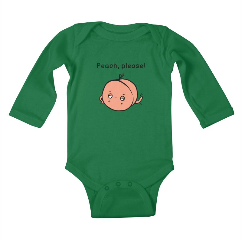 Peach, Please! Kids Baby Longsleeve Bodysuit by Piratart Illustration