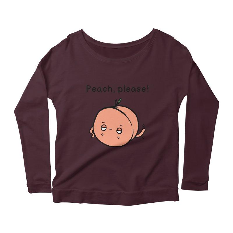 Peach, Please! Women's Scoop Neck Longsleeve T-Shirt by Piratart Illustration