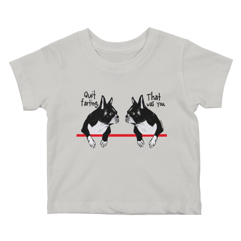 Farting Boston Terriers Kids Baby T-Shirt by Pithitude on Threadless