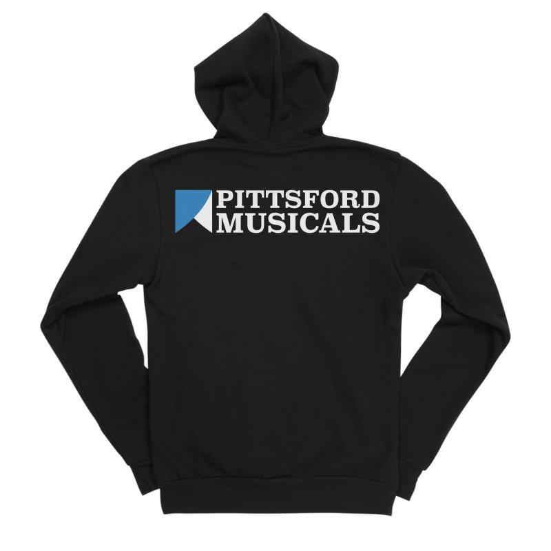 PM Logo In White Men's Sponge Fleece Zip-Up Hoody by Pittsford Musicals