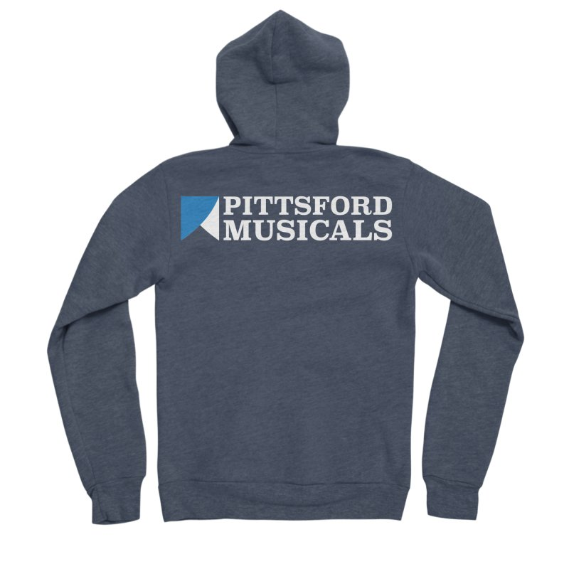 PM Logo In White Women's Sponge Fleece Zip-Up Hoody by Pittsford Musicals