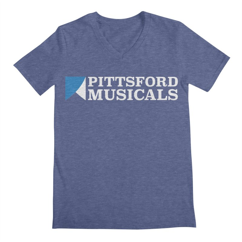 PM Logo In White Men's V-Neck by Pittsford Musicals