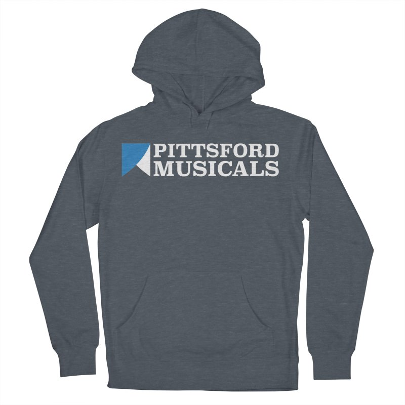 PM Logo In White Men's French Terry Pullover Hoody by Pittsford Musicals
