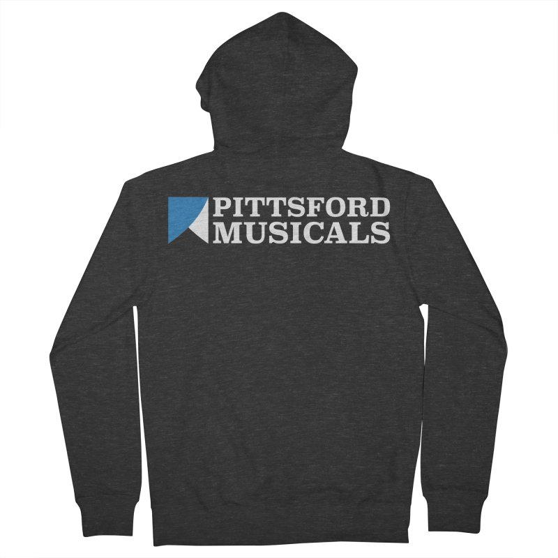 PM Logo In White Men's French Terry Zip-Up Hoody by Pittsford Musicals