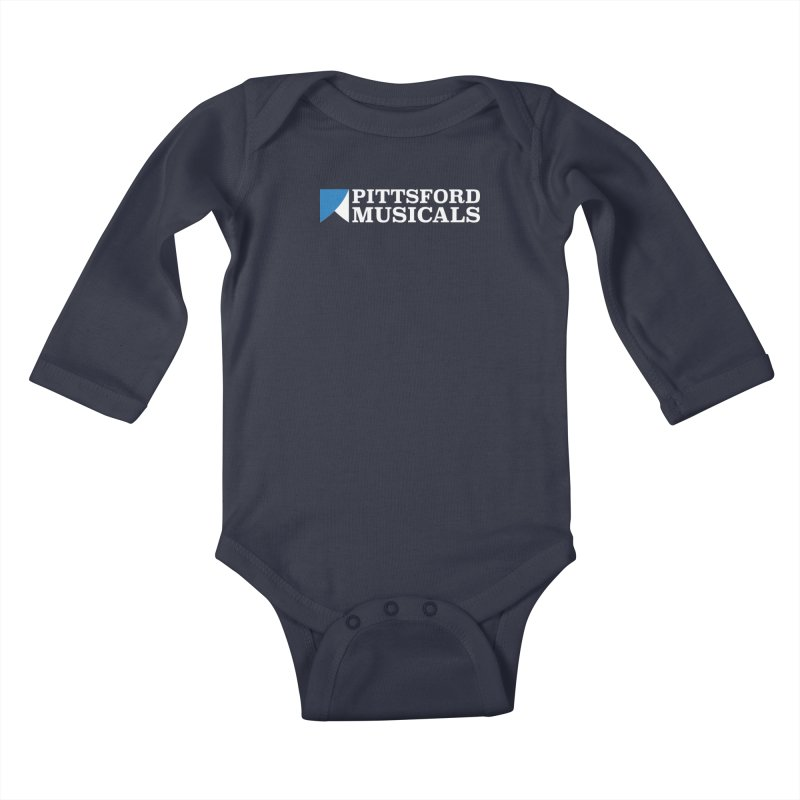 PM Logo In White Kids Baby Longsleeve Bodysuit by Pittsford Musicals