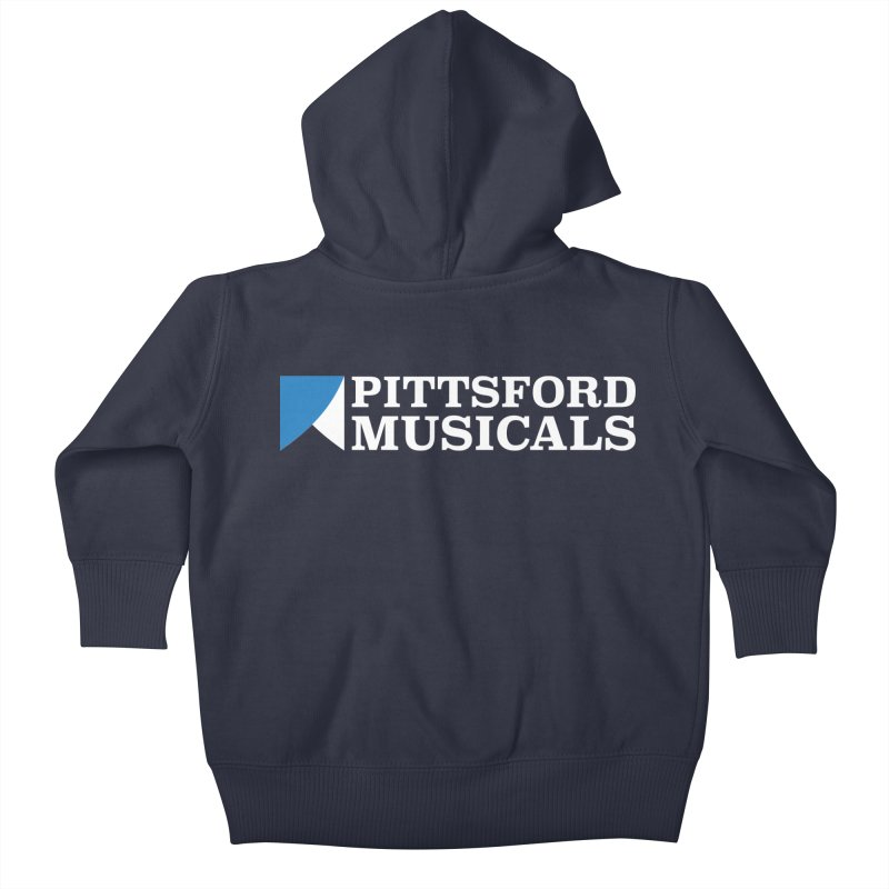 PM Logo In White Kids Baby Zip-Up Hoody by Pittsford Musicals
