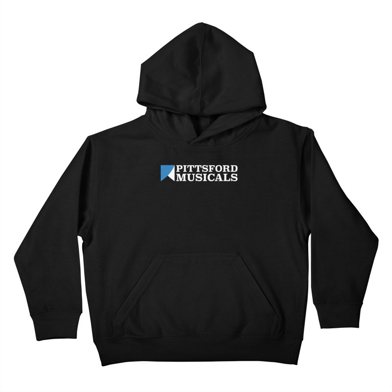 PM Logo In White Kids Pullover Hoody by Pittsford Musicals